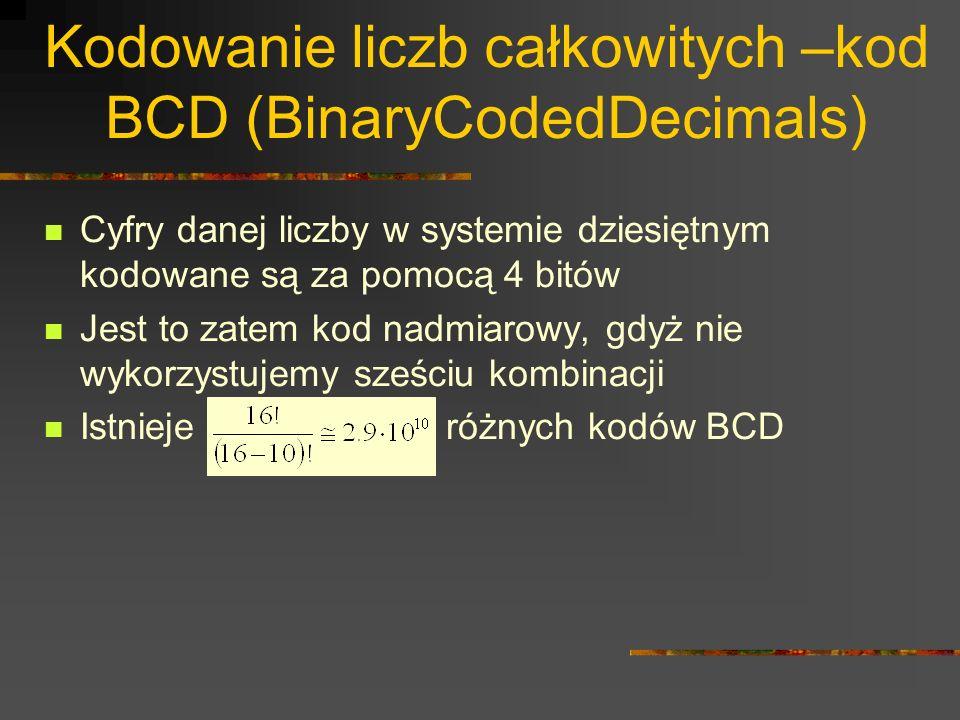 Kodowanie liczb całkowitych –kod BCD (BinaryCodedDecimals)