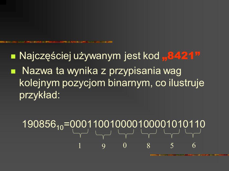 """Najczęściej używanym jest kod """"8421"""