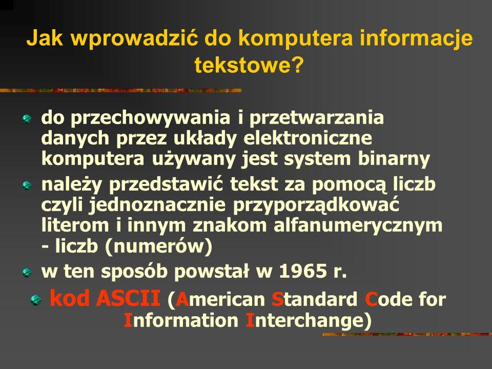 Jak wprowadzić do komputera informacje tekstowe