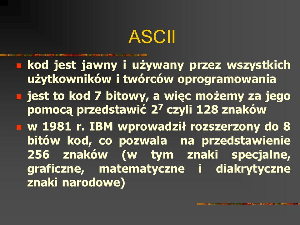 ASCIIkod jest jawny i używany przez wszystkich użytkowników i twórców oprogramowania.