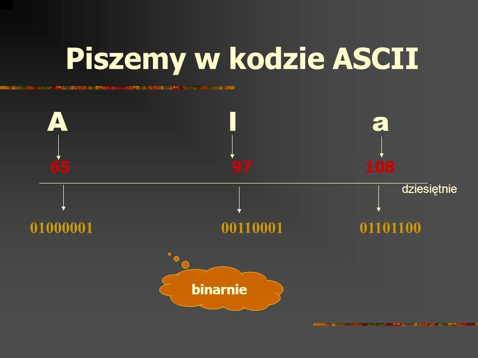 Piszemy w kodzie ASCII A l a 65 97 108 01000001 00110001 01101100