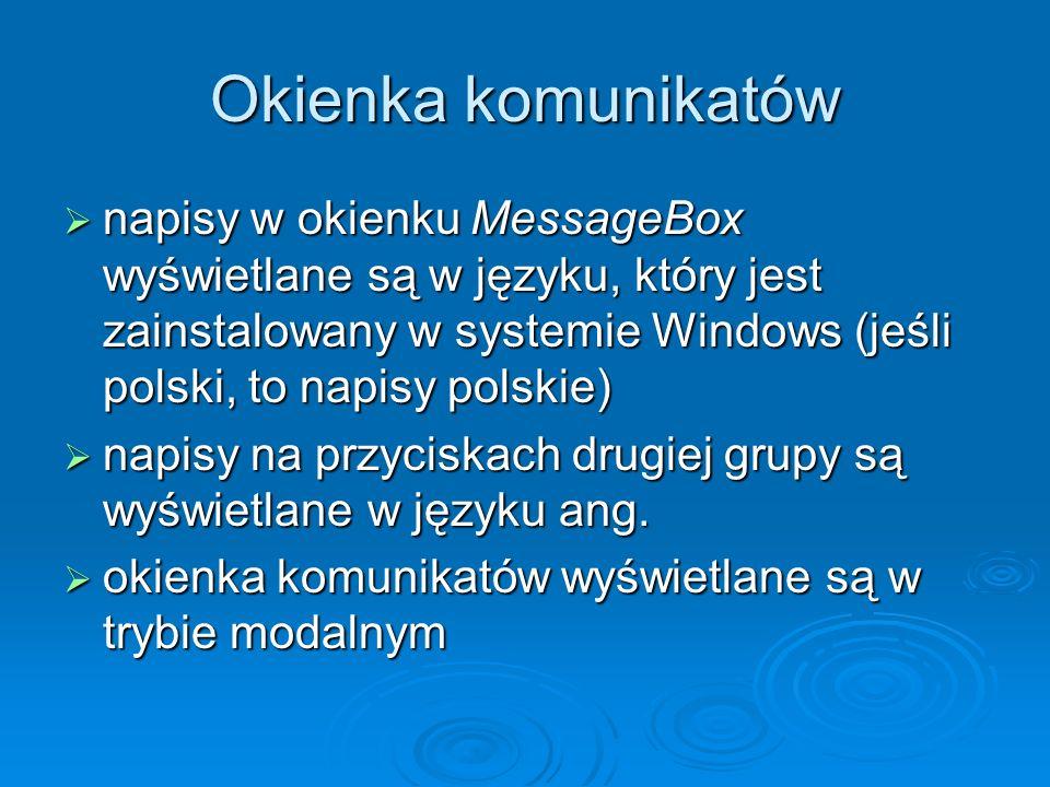 Okienka komunikatów
