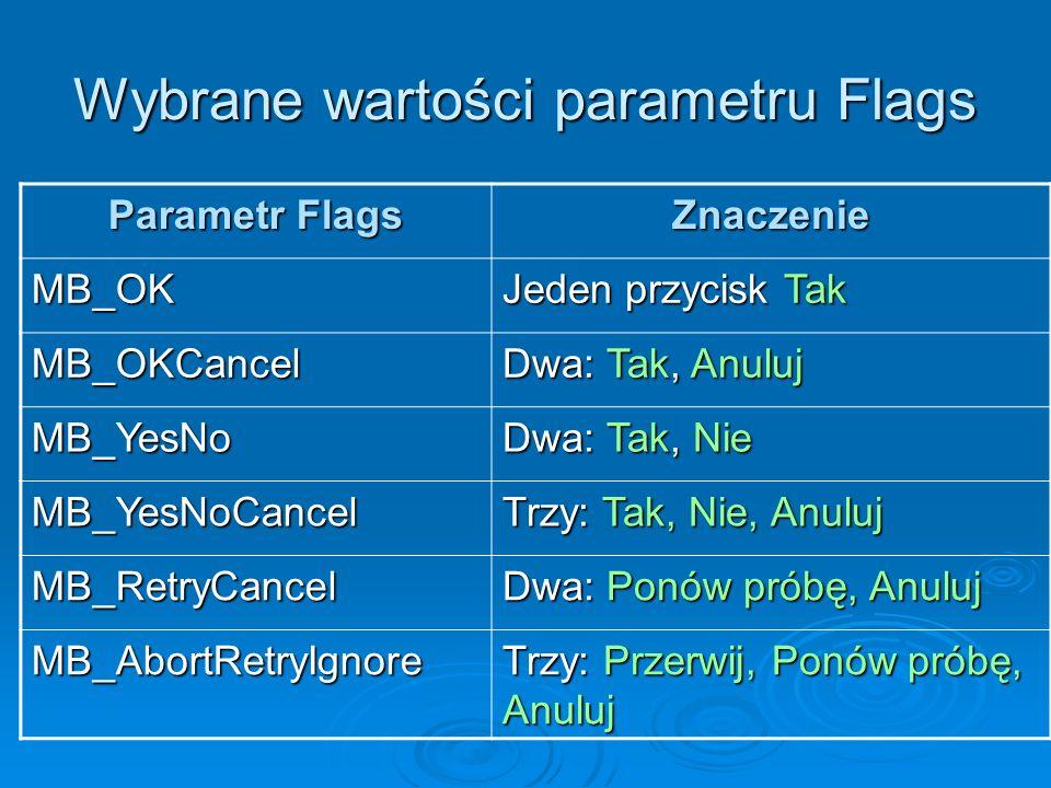 Wybrane wartości parametru Flags