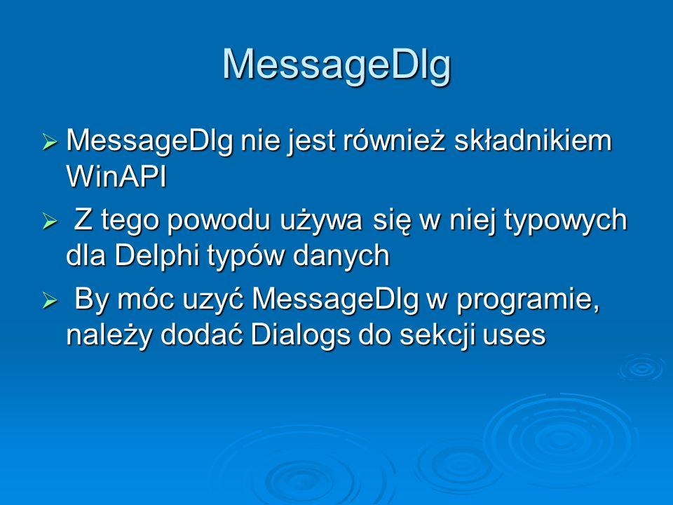 MessageDlg MessageDlg nie jest również składnikiem WinAPI
