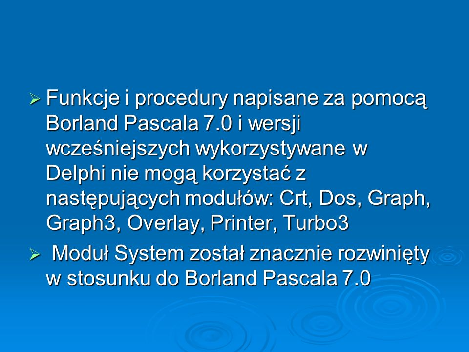 Funkcje i procedury napisane za pomocą Borland Pascala 7