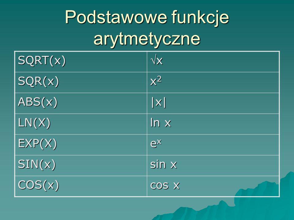Podstawowe funkcje arytmetyczne