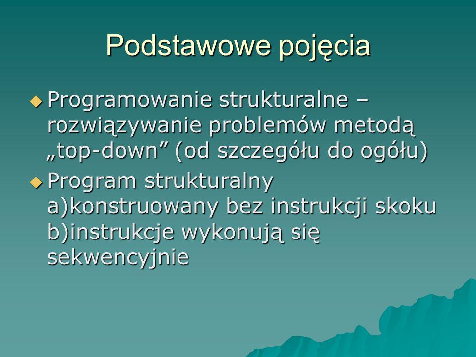 """Podstawowe pojęcia Programowanie strukturalne – rozwiązywanie problemów metodą """"top-down (od szczegółu do ogółu)"""