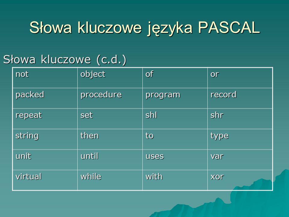 Słowa kluczowe języka PASCAL
