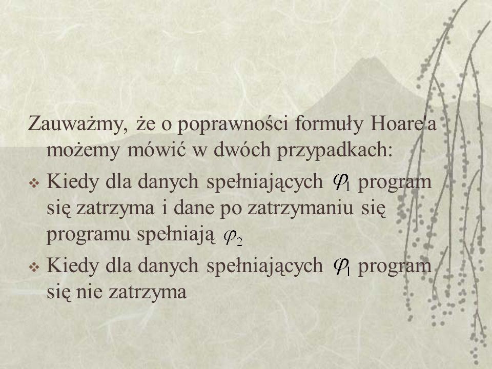Zauważmy, że o poprawności formuły Hoare a możemy mówić w dwóch przypadkach: