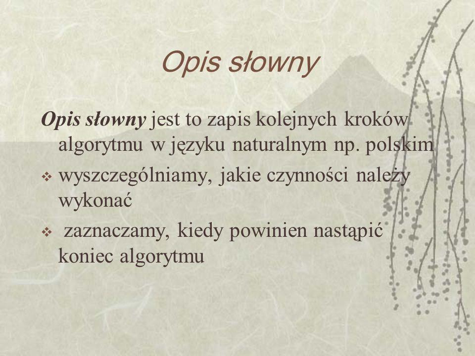 Opis słowny Opis słowny jest to zapis kolejnych kroków algorytmu w języku naturalnym np. polskim. wyszczególniamy, jakie czynności należy wykonać.