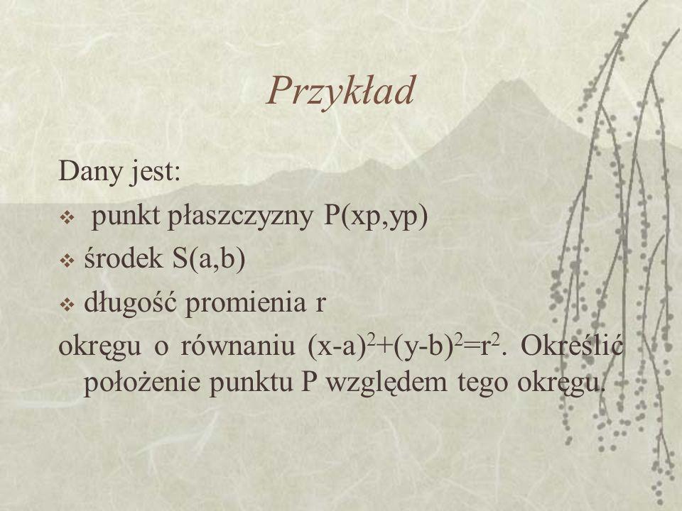 Przykład Dany jest: punkt płaszczyzny P(xp,yp) środek S(a,b)