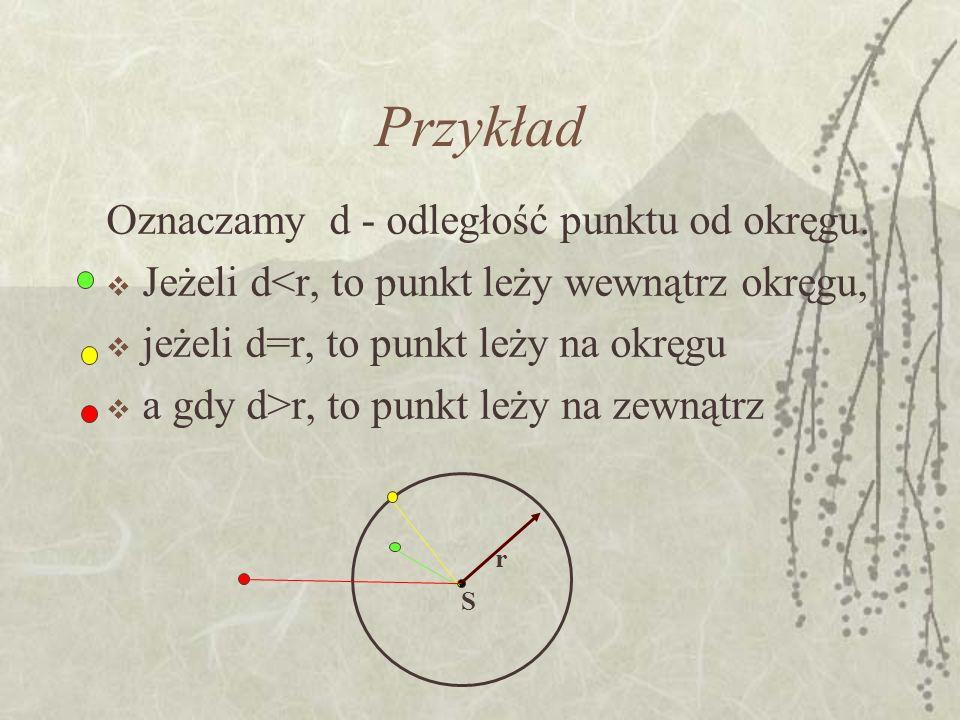 Przykład Oznaczamy d - odległość punktu od okręgu.