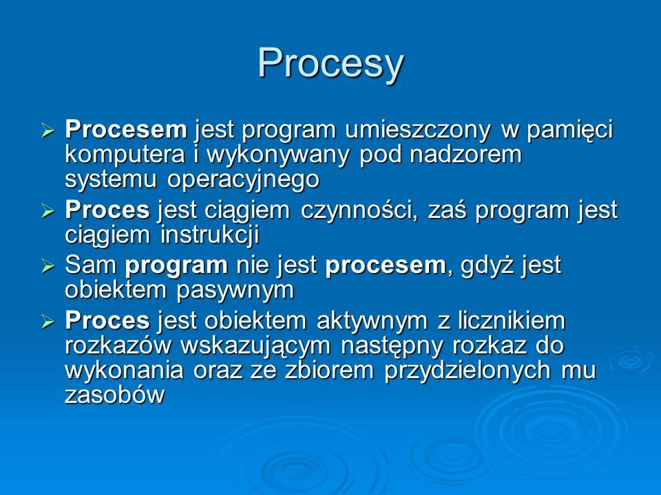 Procesy Procesem jest program umieszczony w pamięci komputera i wykonywany pod nadzorem systemu operacyjnego.
