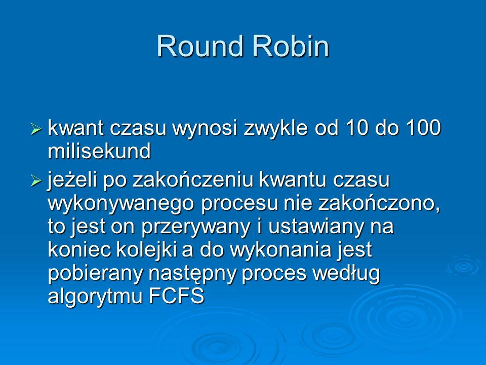 Round Robin kwant czasu wynosi zwykle od 10 do 100 milisekund