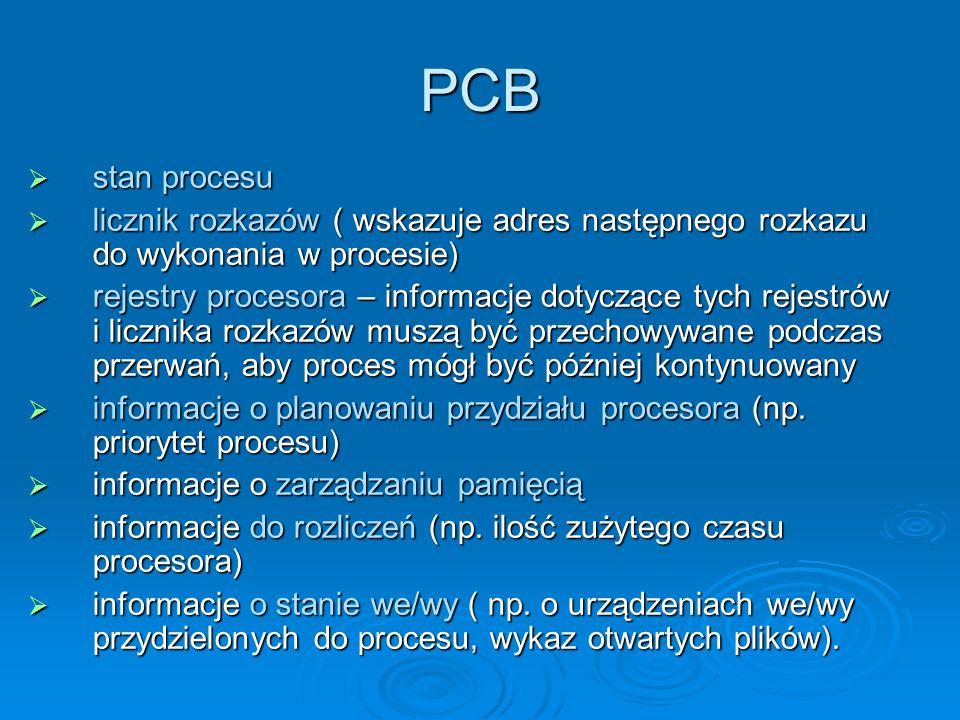 PCBstan procesu. licznik rozkazów ( wskazuje adres następnego rozkazu do wykonania w procesie)
