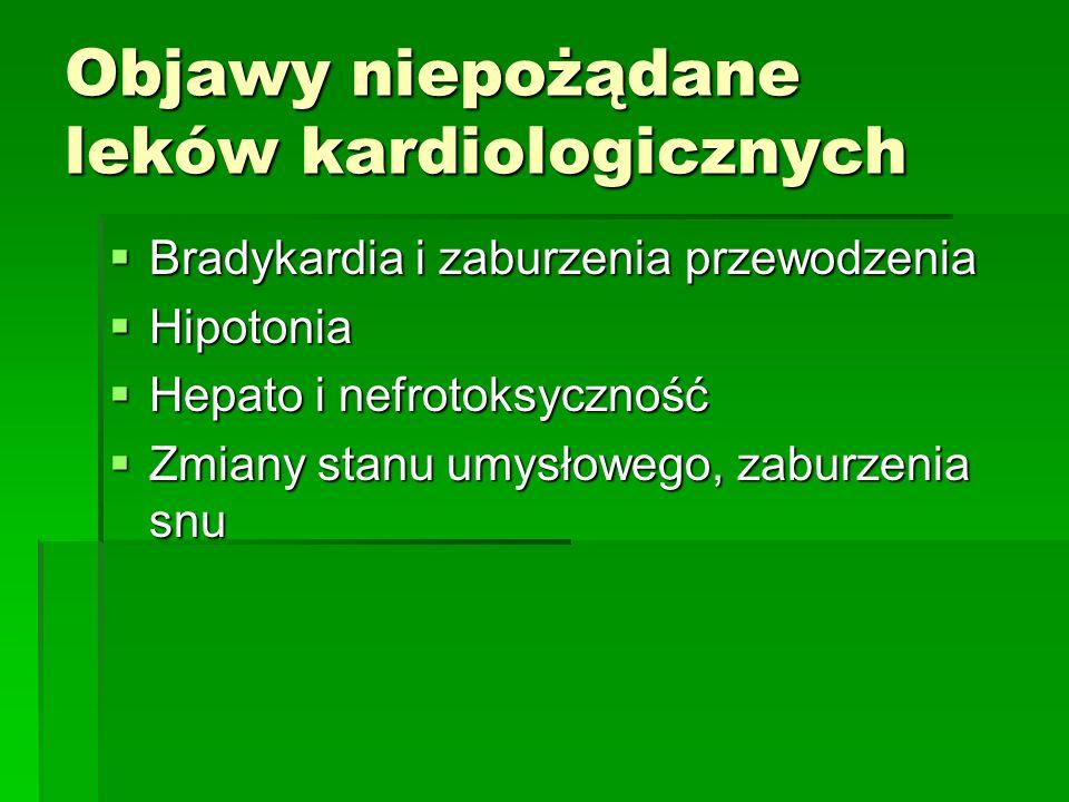 Objawy niepożądane leków kardiologicznych