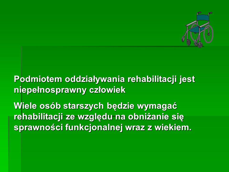 Podmiotem oddziaływania rehabilitacji jest niepełnosprawny człowiek