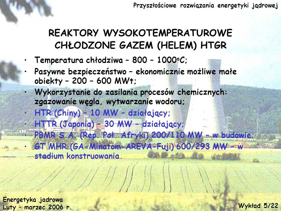 REAKTORY WYSOKOTEMPERATUROWE CHŁODZONE GAZEM (HELEM) HTGR