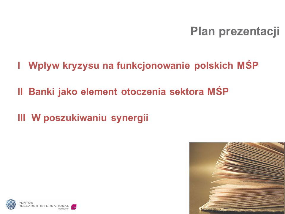 Plan prezentacji I Wpływ kryzysu na funkcjonowanie polskich MŚP II Banki jako element otoczenia sektora MŚP III W poszukiwaniu synergii.