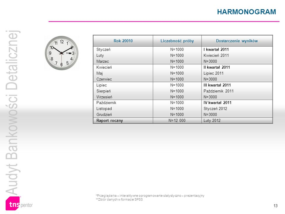 HARMONOGRAM Rok 20010 Liczebność próby Dostarczenie wyników Styczeń