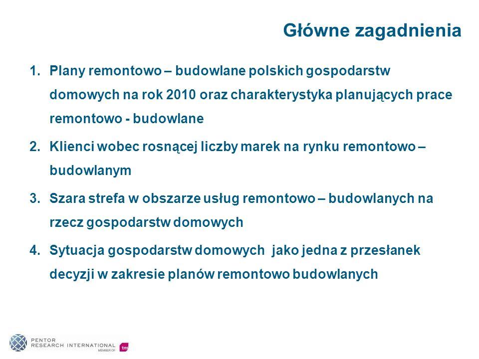 Główne zagadnienia Plany remontowo – budowlane polskich gospodarstw domowych na rok 2010 oraz charakterystyka planujących prace remontowo - budowlane.