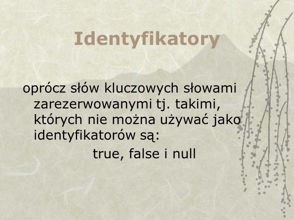 Identyfikatory oprócz słów kluczowych słowami zarezerwowanymi tj. takimi, których nie można używać jako identyfikatorów są: