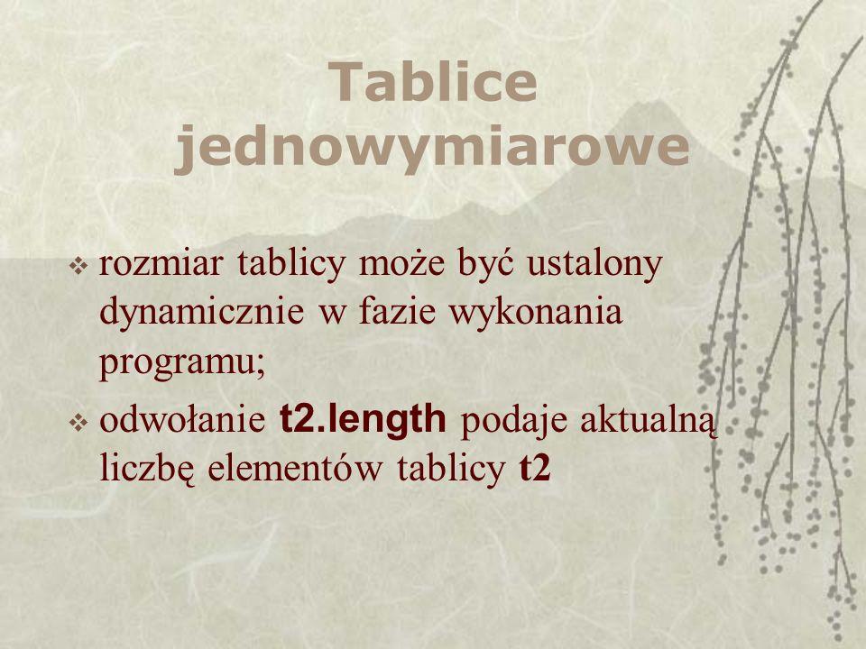 Tablice jednowymiarowe