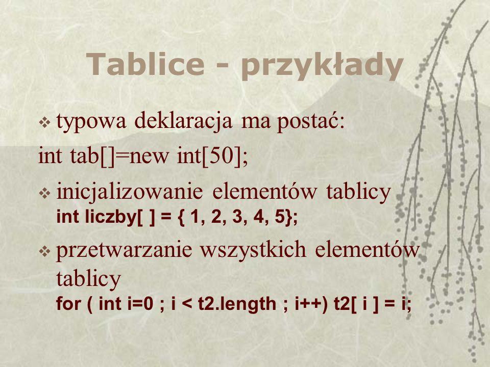 Tablice - przykłady typowa deklaracja ma postać: