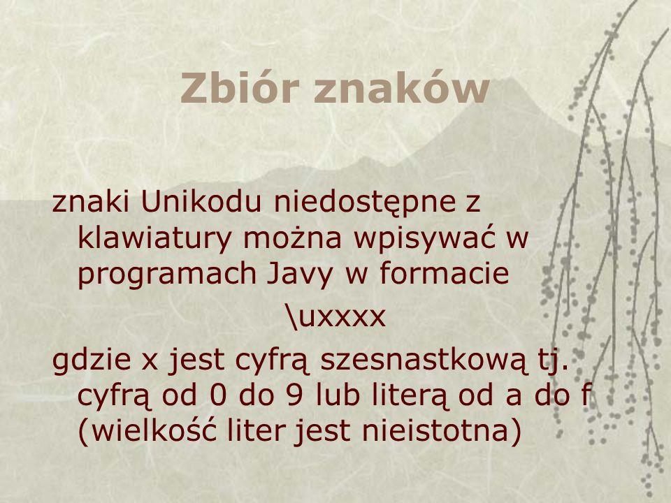 Zbiór znaków znaki Unikodu niedostępne z klawiatury można wpisywać w programach Javy w formacie. \uxxxx.