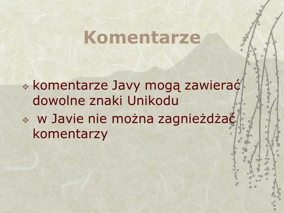 Komentarze komentarze Javy mogą zawierać dowolne znaki Unikodu