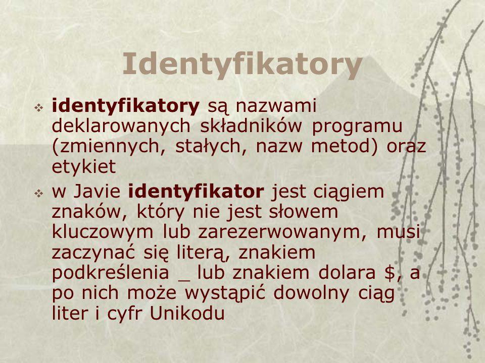 Identyfikatory identyfikatory są nazwami deklarowanych składników programu (zmiennych, stałych, nazw metod) oraz etykiet.