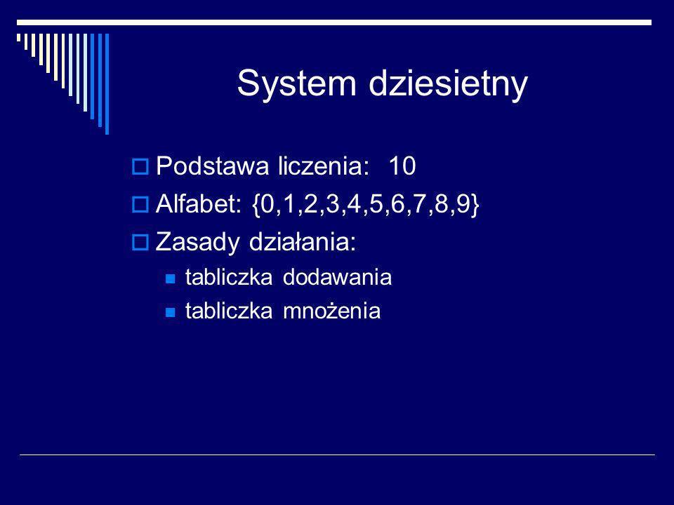 System dziesietny Podstawa liczenia: 10 Alfabet: {0,1,2,3,4,5,6,7,8,9}