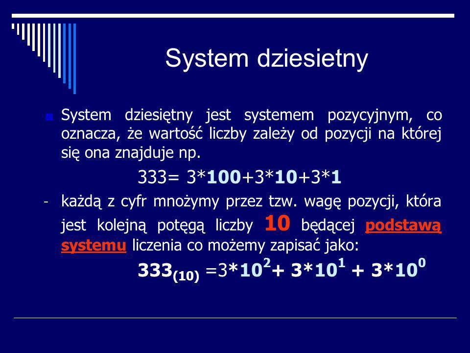 System dziesietny 333= 3*100+3*10+3*1