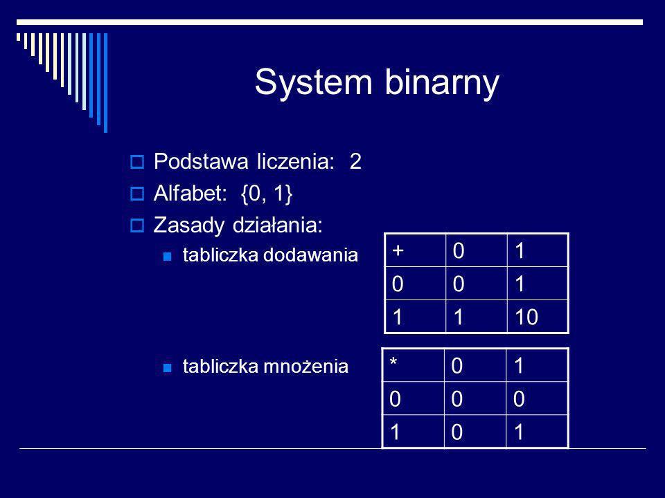 System binarny Podstawa liczenia: 2 Alfabet: {0, 1} Zasady działania: