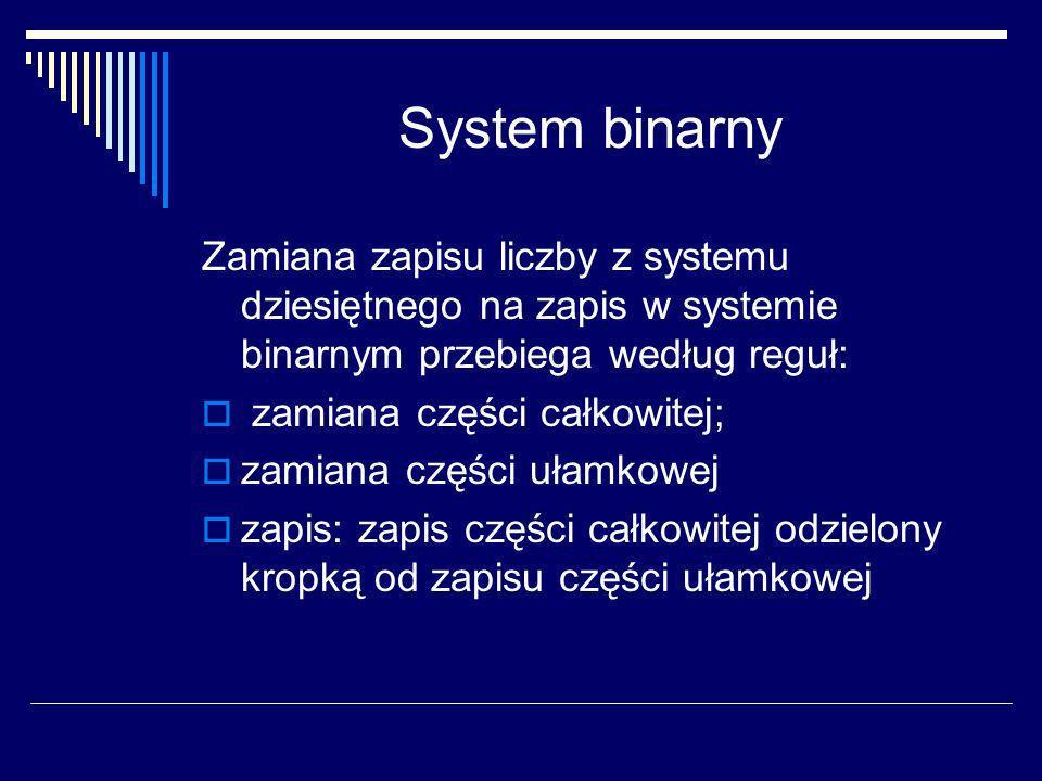 System binarny Zamiana zapisu liczby z systemu dziesiętnego na zapis w systemie binarnym przebiega według reguł: