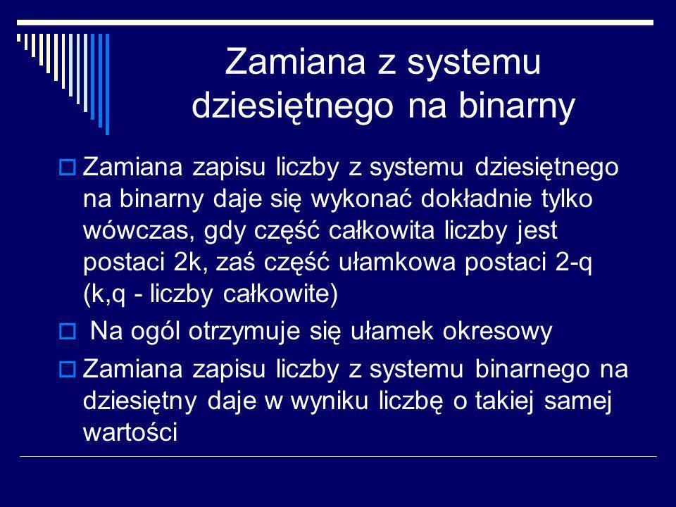 Zamiana z systemu dziesiętnego na binarny