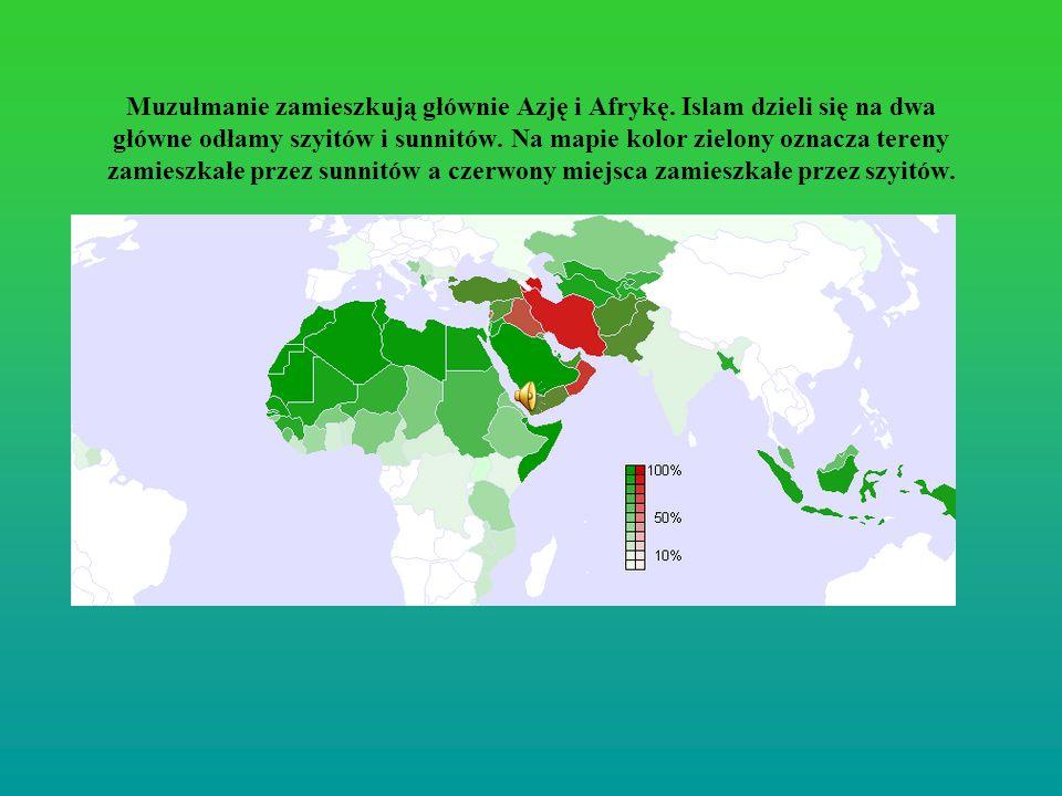 Muzułmanie zamieszkują głównie Azję i Afrykę