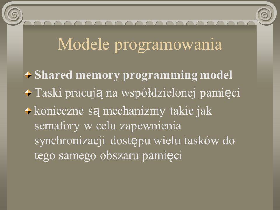 Modele programowania Shared memory programming model