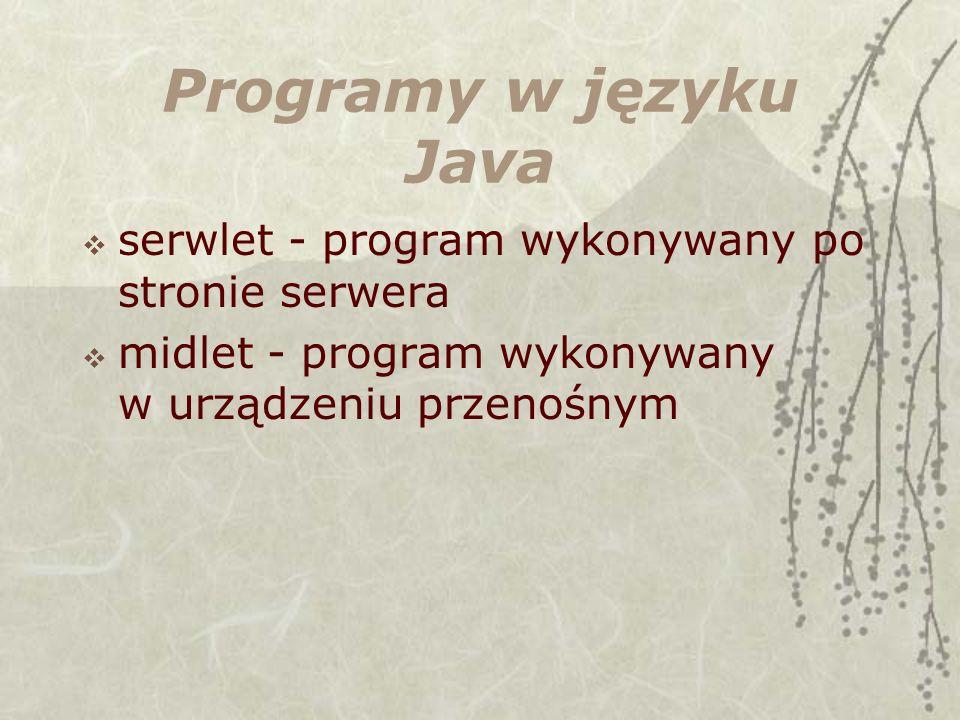 Programy w języku Java serwlet - program wykonywany po stronie serwera