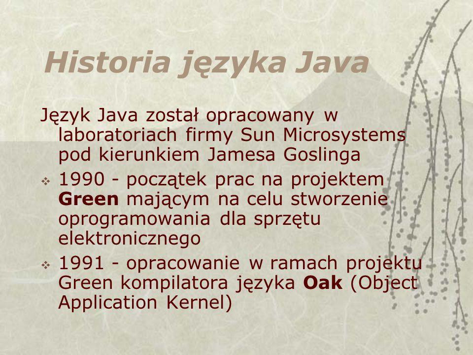 Historia języka Java Język Java został opracowany w laboratoriach firmy Sun Microsystems pod kierunkiem Jamesa Goslinga.
