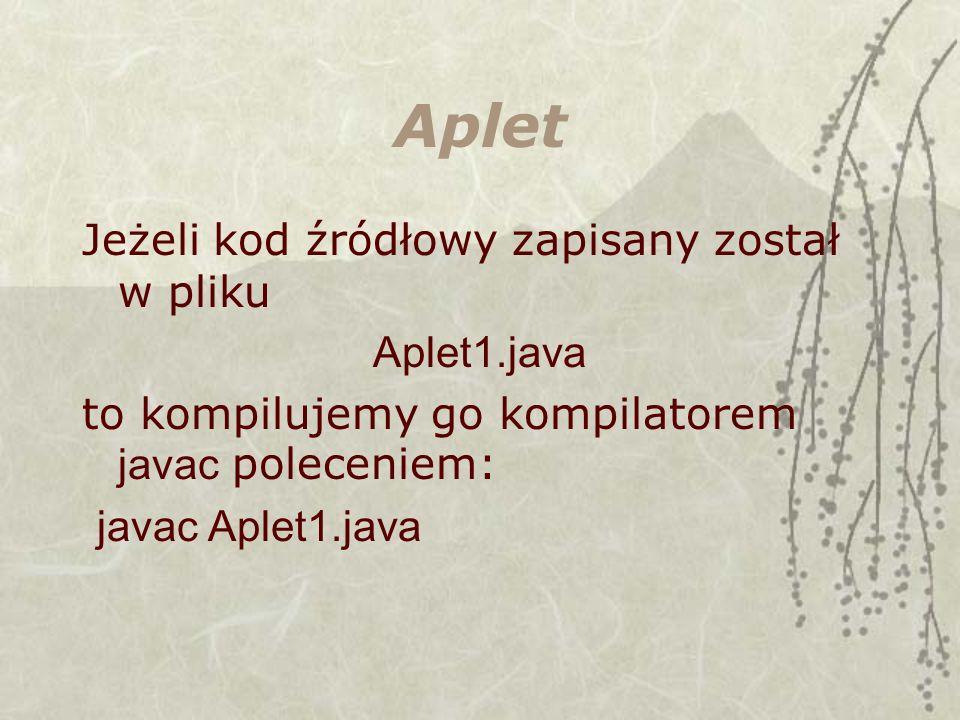 Aplet Jeżeli kod źródłowy zapisany został w pliku Aplet1.java