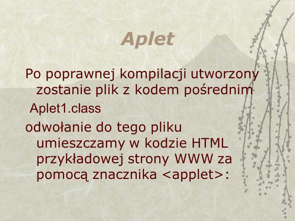 Aplet Po poprawnej kompilacji utworzony zostanie plik z kodem pośrednim. Aplet1.class.