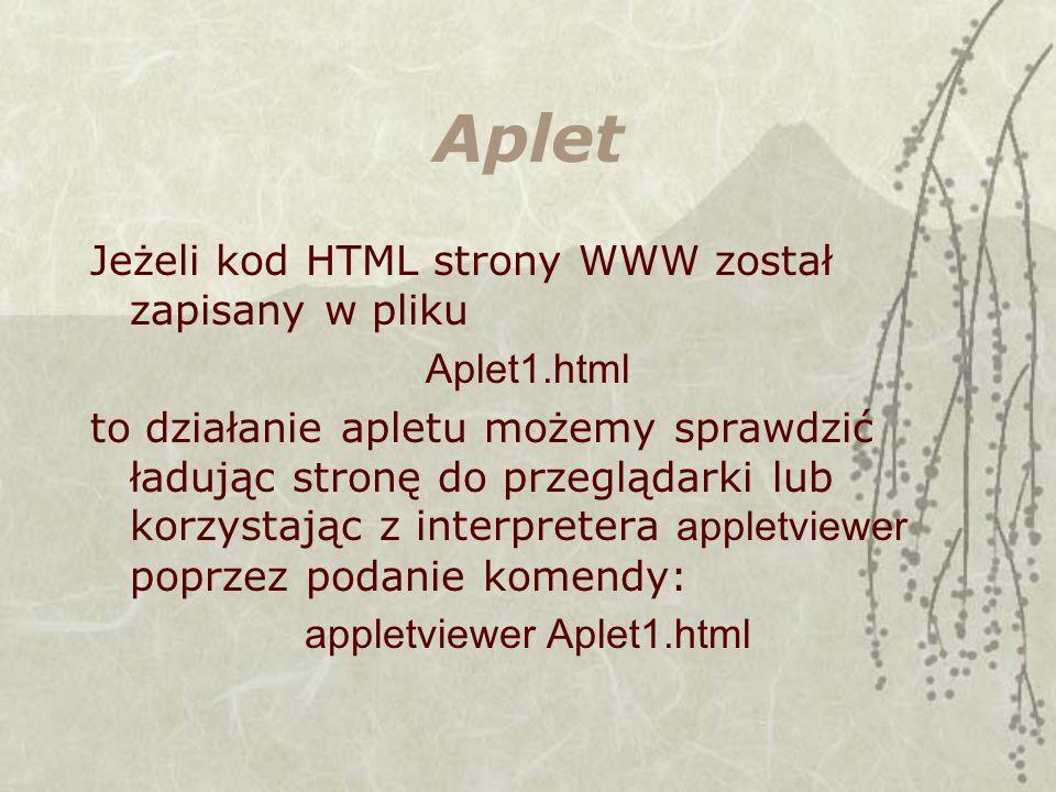 appletviewer Aplet1.html