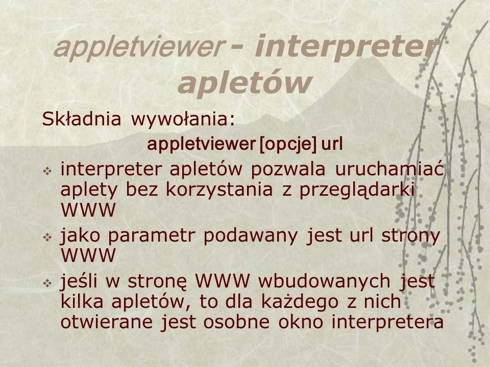 appletviewer - interpreter apletów