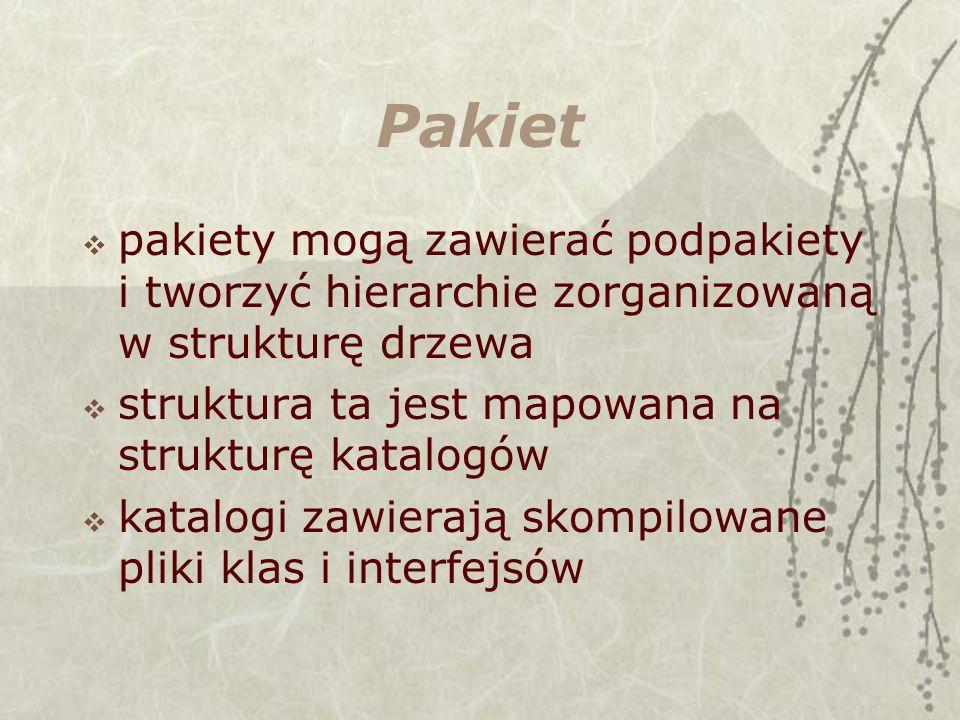 Pakiet pakiety mogą zawierać podpakiety i tworzyć hierarchie zorganizowaną w strukturę drzewa. struktura ta jest mapowana na strukturę katalogów.