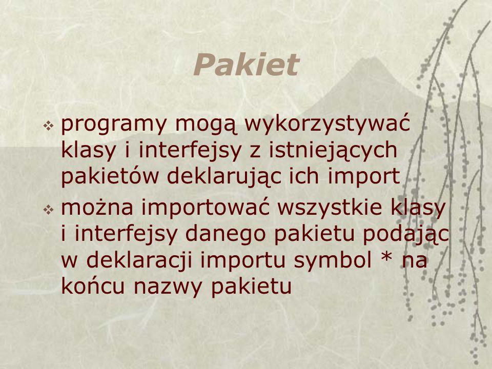 Pakiet programy mogą wykorzystywać klasy i interfejsy z istniejących pakietów deklarując ich import.