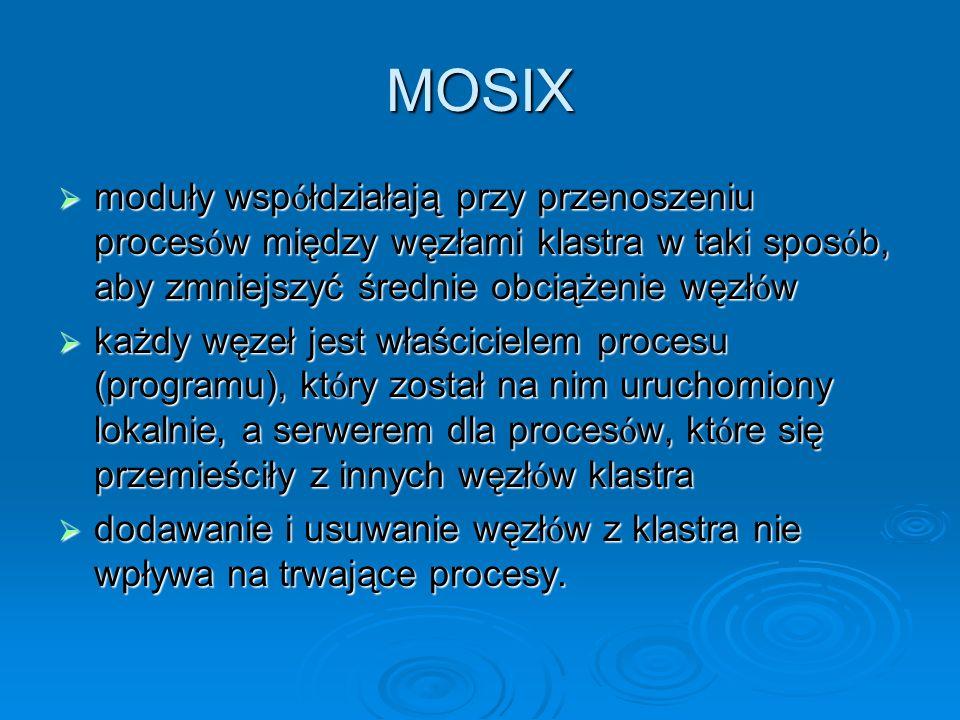 MOSIXmoduły współdziałają przy przenoszeniu procesów między węzłami klastra w taki sposób, aby zmniejszyć średnie obciążenie węzłów.