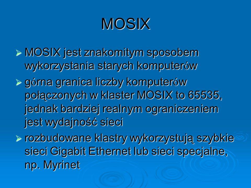 MOSIX MOSIX jest znakomitym sposobem wykorzystania starych komputerów