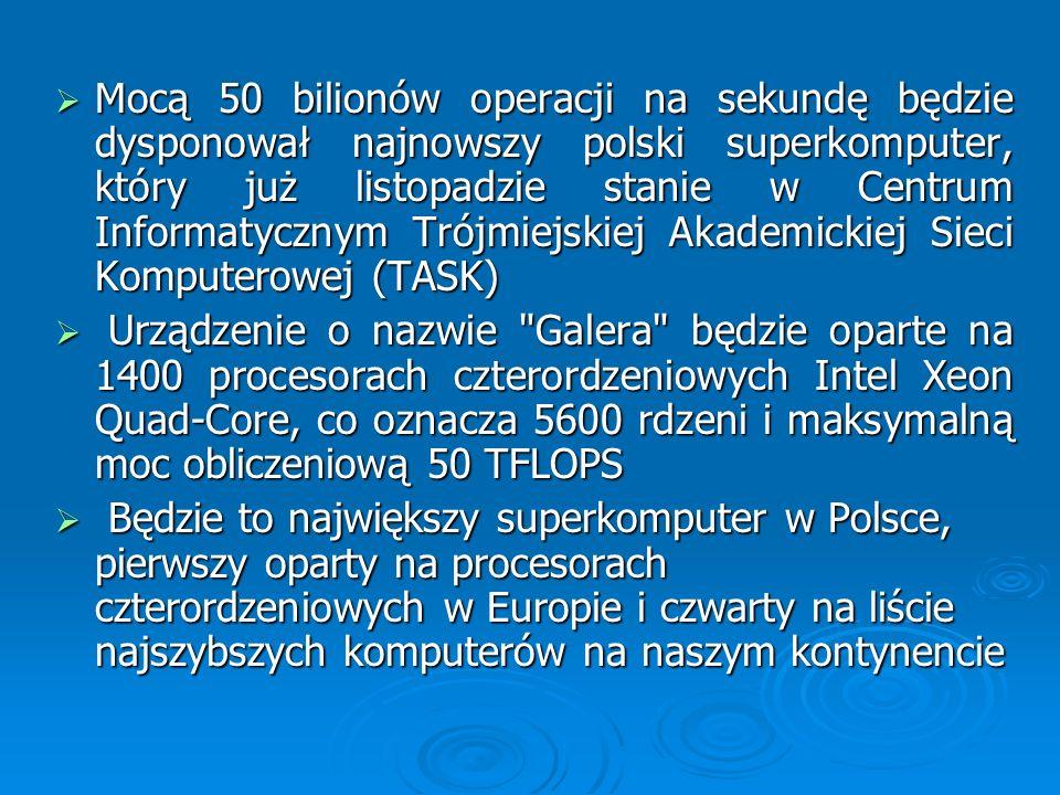 Mocą 50 bilionów operacji na sekundę będzie dysponował najnowszy polski superkomputer, który już listopadzie stanie w Centrum Informatycznym Trójmiejskiej Akademickiej Sieci Komputerowej (TASK)
