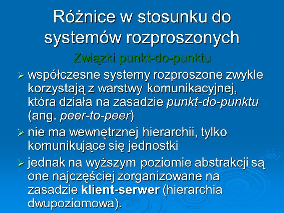 Różnice w stosunku do systemów rozproszonych